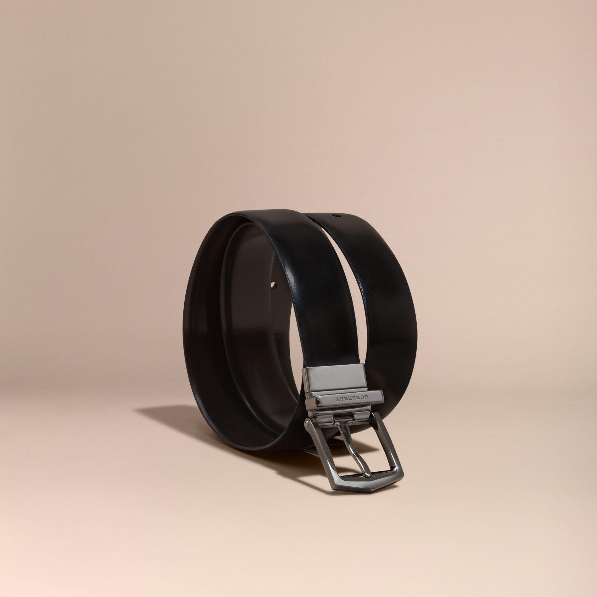 Black/chocolate Reversible Bridle Leather Belt - gallery image 1