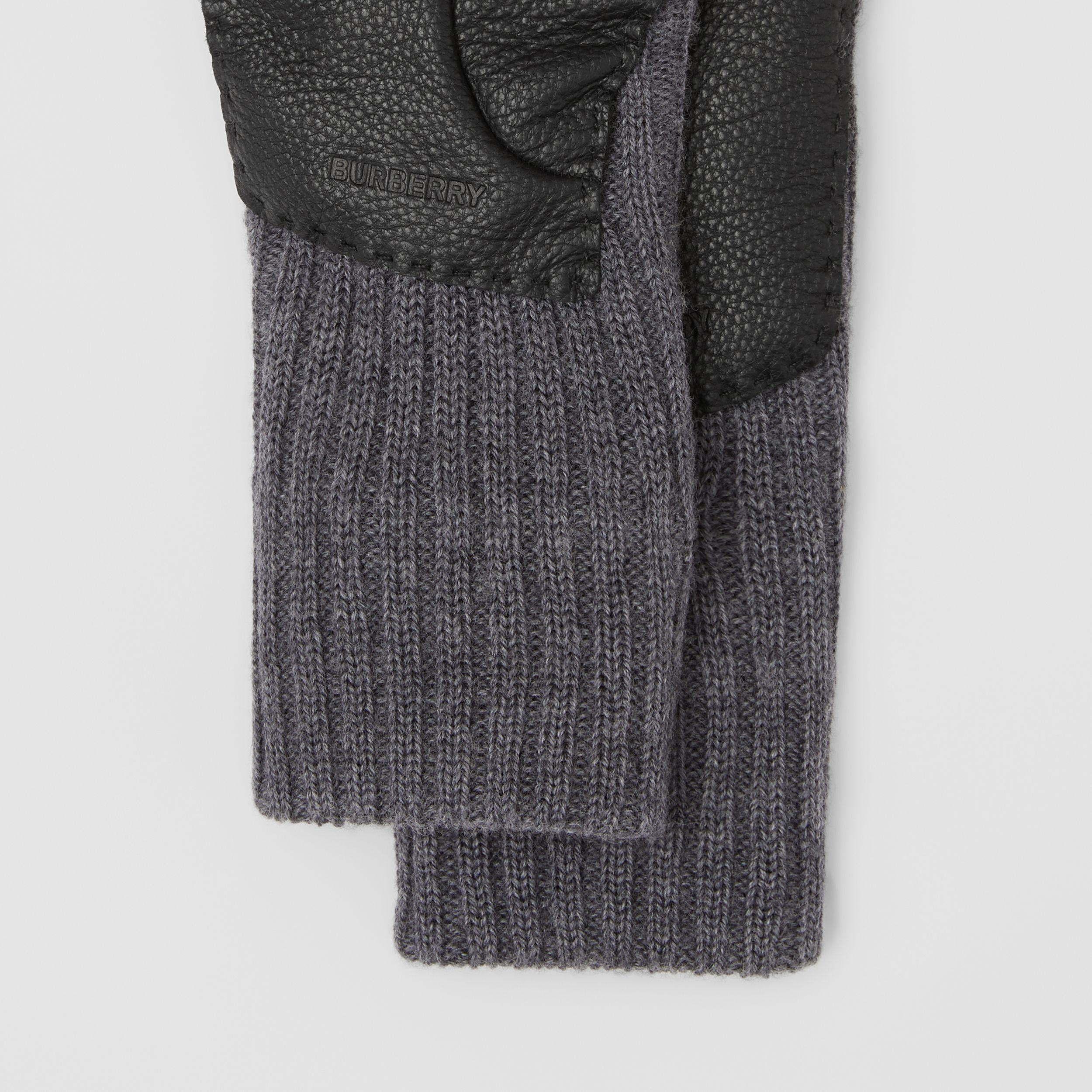 Cashmere-lined Merino Wool and Deerskin Gloves in Grey Melange - Men | Burberry - 2