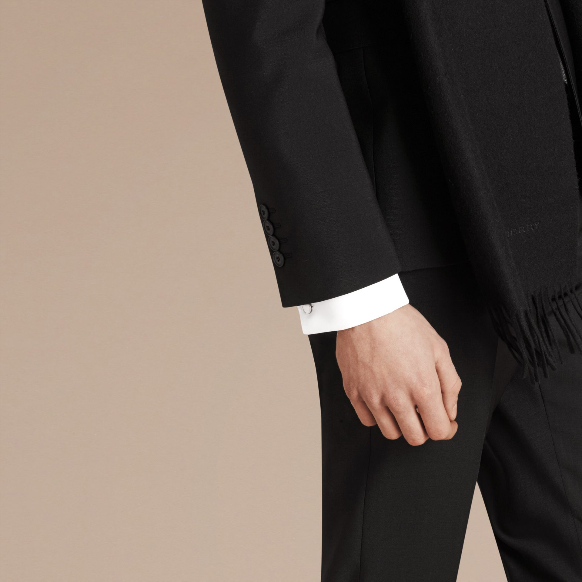 Slim Fit Wool Mohair Part-canvas Suit in Black - Men | Burberry Singapore - gallery image 2