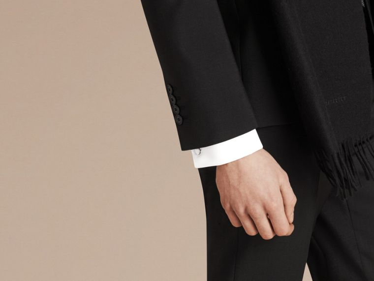 Slim Fit Wool Mohair Part-canvas Suit in Black - Men | Burberry Singapore - cell image 1