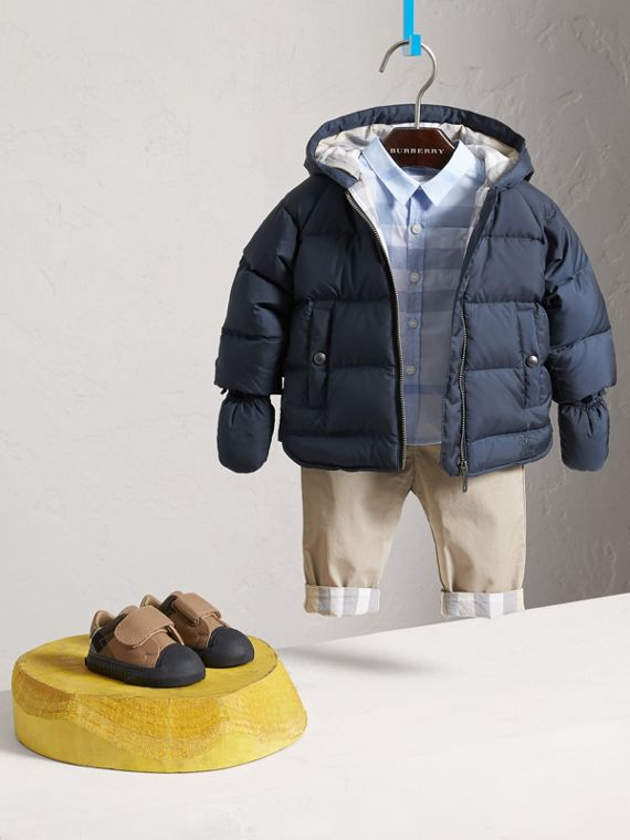 Hooded Down-filled Puffer Jacket with Mittens in Navy