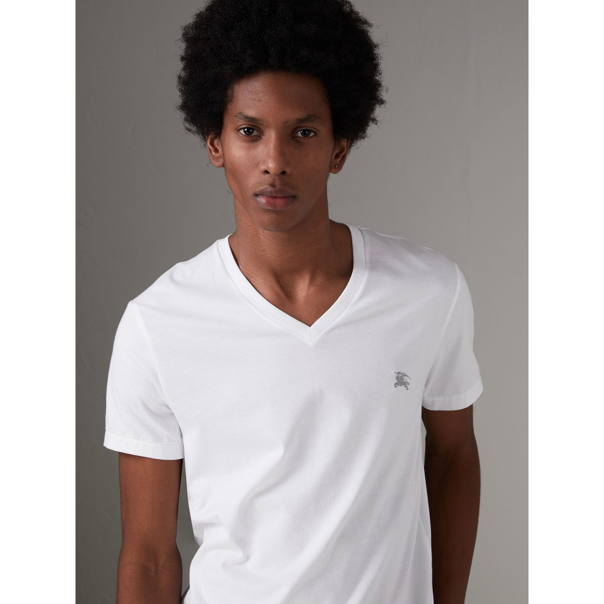 Cotton Jersey T-shirt in White - Men | Burberry - gallery image 5