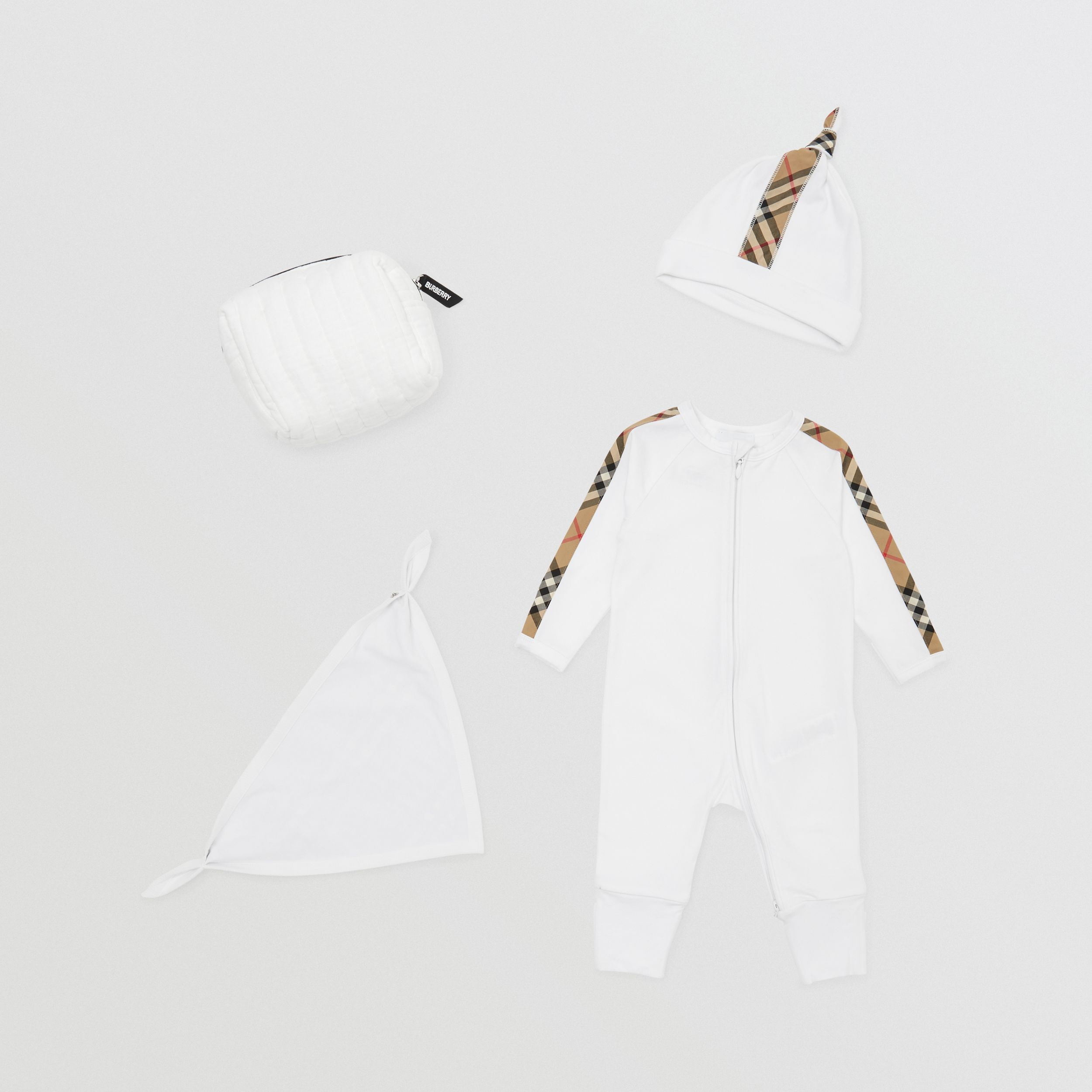 Check Trim Cotton Three-piece Baby Gift Set in White - Children | Burberry - 1