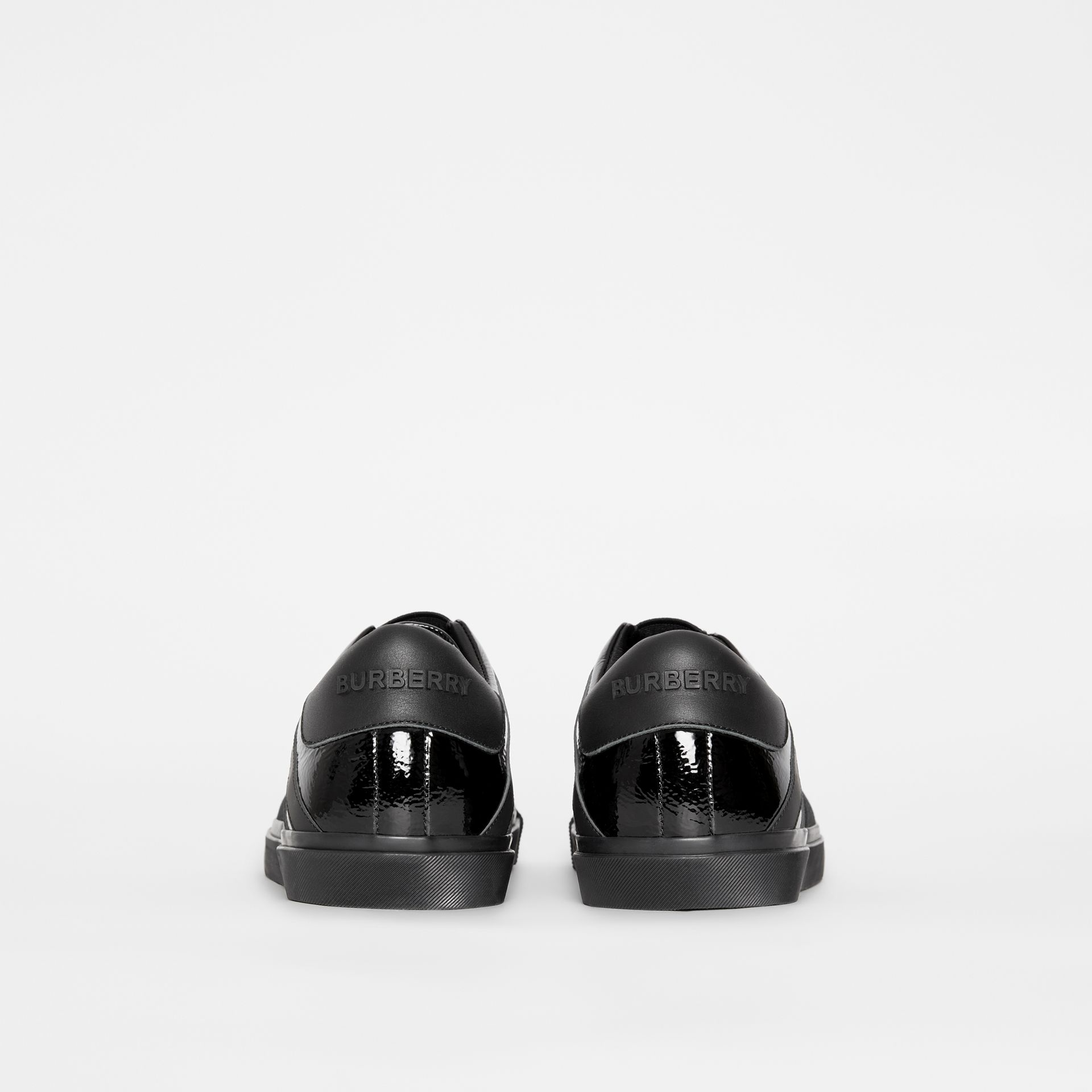 Union Jack Motif Slip-on Sneakers in Black - Men | Burberry - gallery image 3
