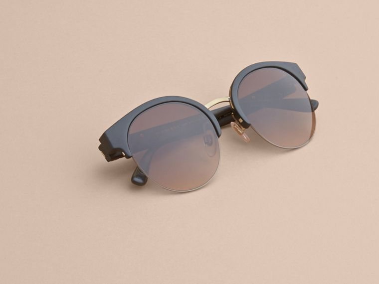 Check Detail Round Half-frame Sunglasses in Black - Women | Burberry Canada - cell image 4