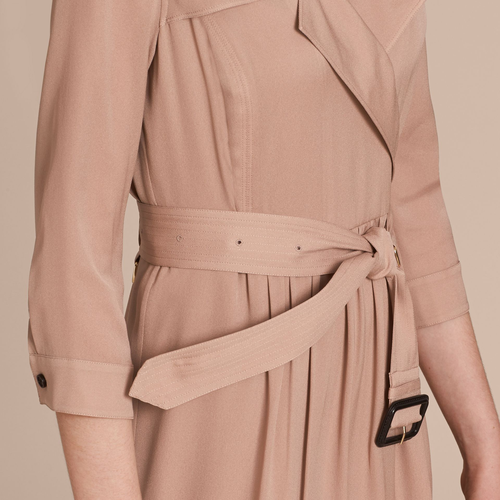Silk Trench Dress in Nude - Women | Burberry - gallery image 5
