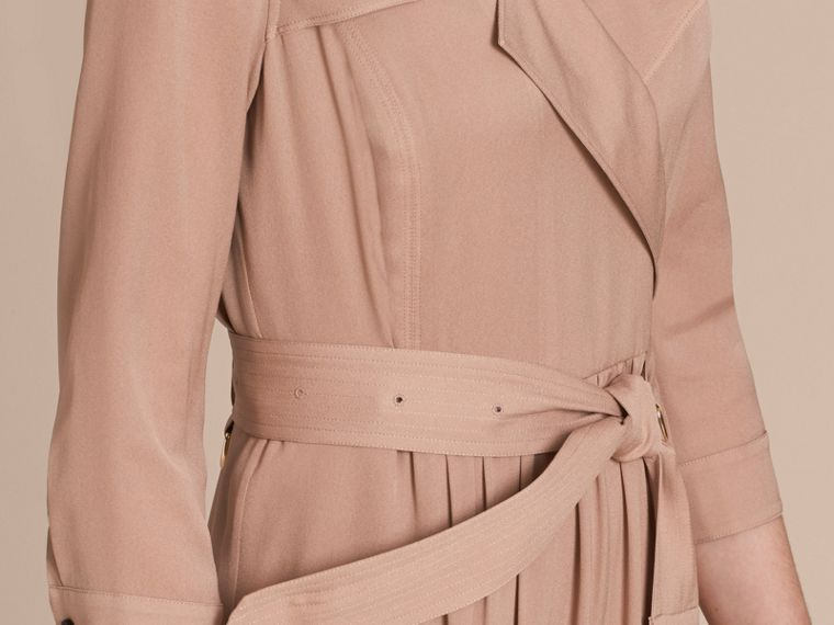 Silk Trench Dress in Nude - Women | Burberry - cell image 4