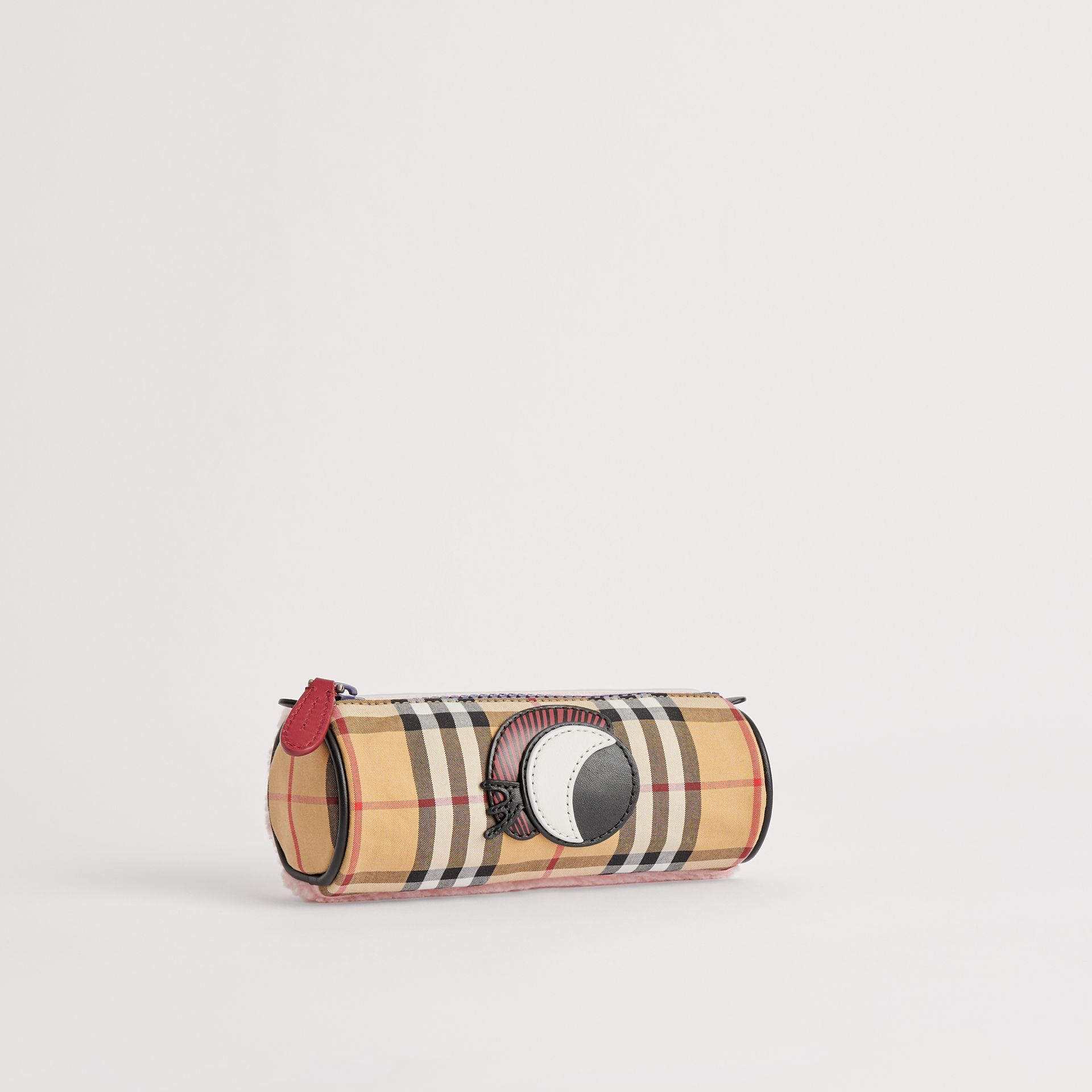 Monster Motif Vintage Check Pencil Case in Amber Yellow | Burberry United States - gallery image 0