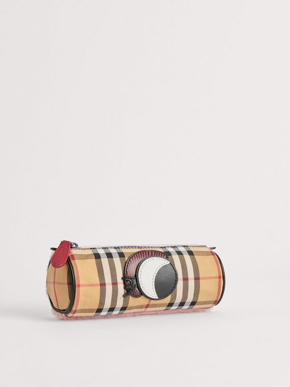 Monster Motif Vintage Check Pencil Case in Amber Yellow