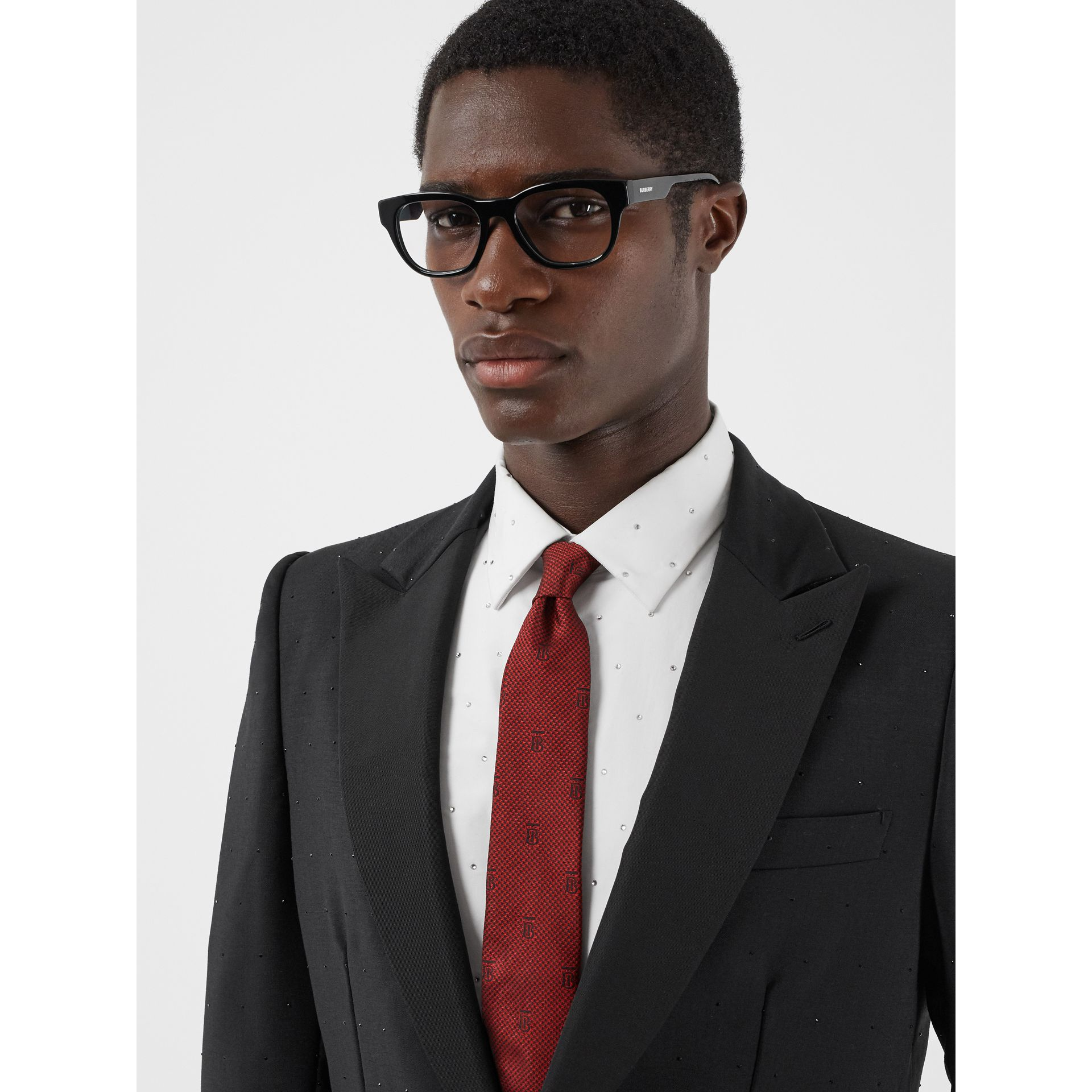 Classic Cut Puppytooth Check Silk Tie in Parade Red - Men | Burberry United States - gallery image 2