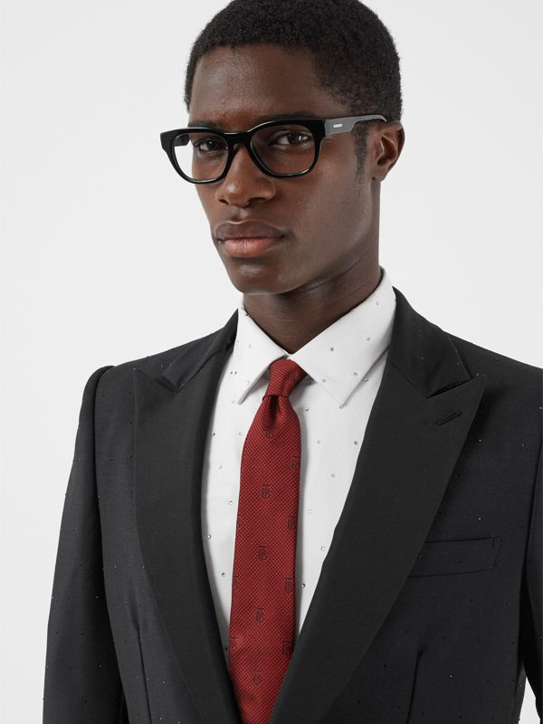 Classic Cut Puppytooth Check Silk Tie in Parade Red - Men | Burberry United States - cell image 2
