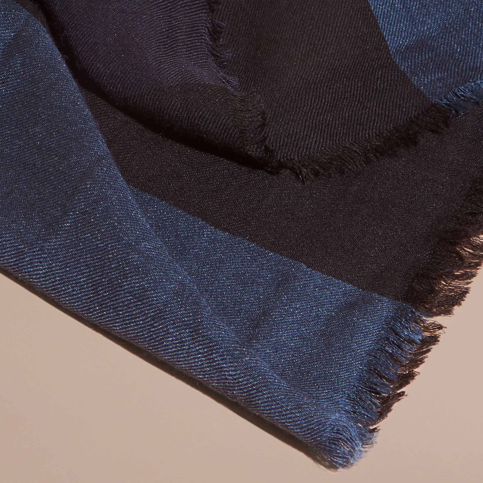 Large Lightweight Check Silk Modal Wool Square Scarf in Navy | Burberry - gallery image 2