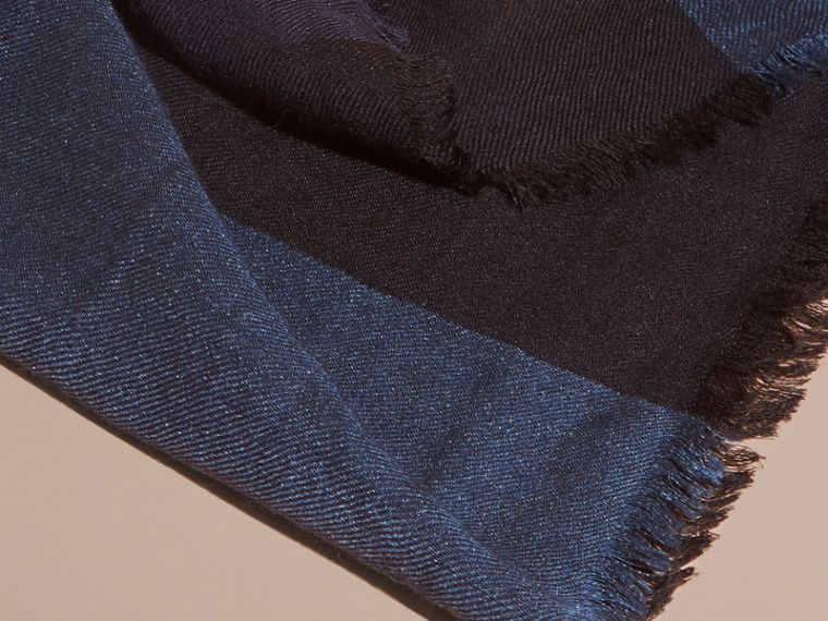 Large Lightweight Check Silk Modal Wool Square Scarf in Navy | Burberry - cell image 1