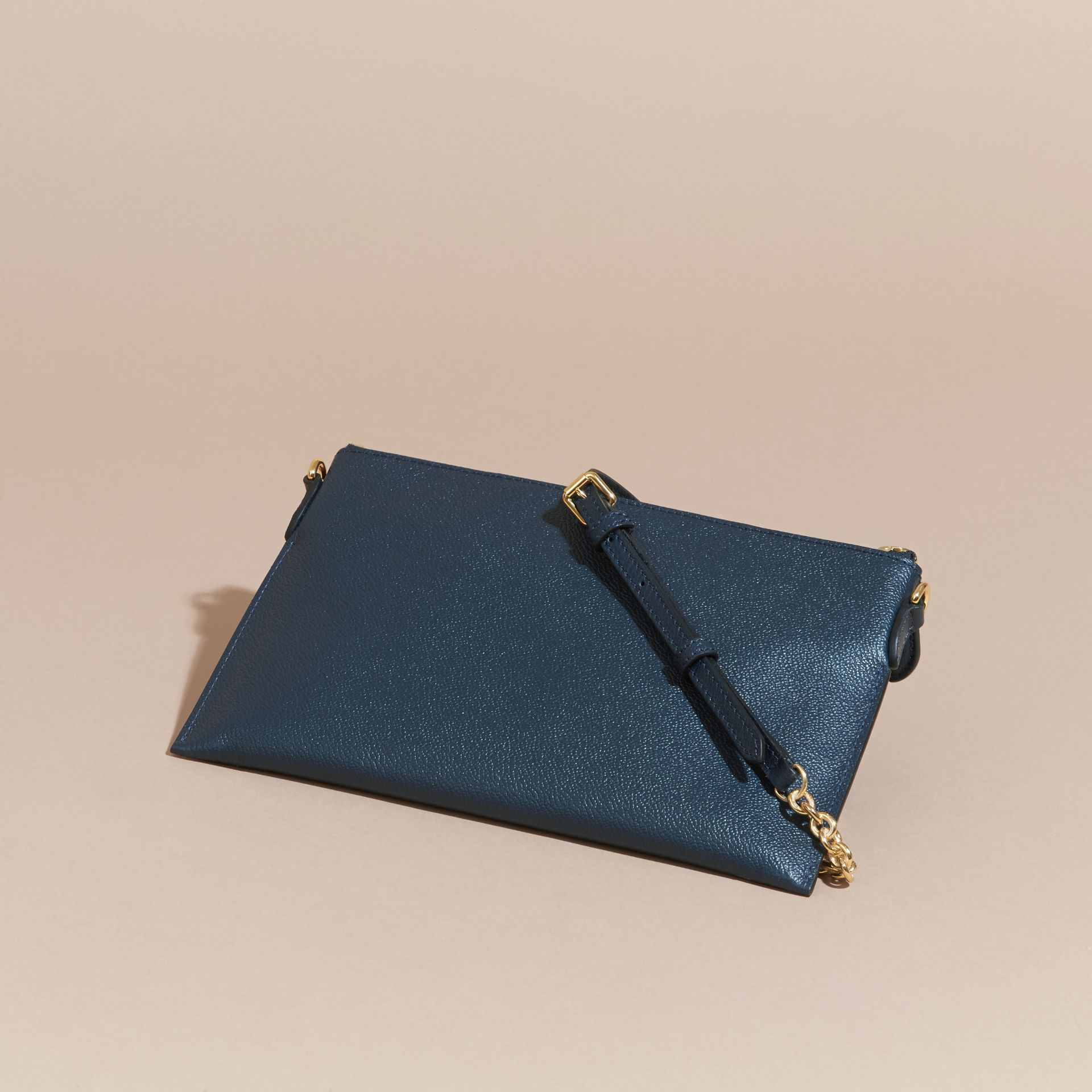 Leather Clutch Bag with Check Lining Blue Carbon - gallery image 5