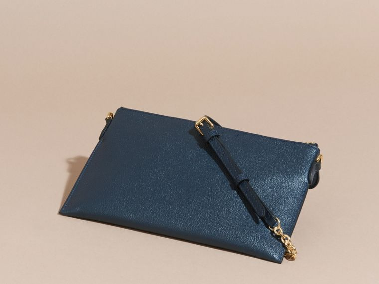 Leather Clutch Bag with Check Lining in Blue Carbon - cell image 4