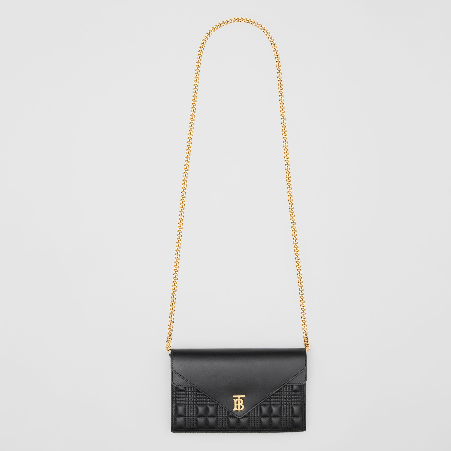 Quilted Lambskin Wallet with Detachable Chain Strap in Black - Women | Burberry United Kingdom - gallery image 3