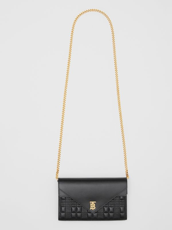 Quilted Lambskin Wallet with Detachable Chain Strap in Black - Women | Burberry United Kingdom - cell image 3