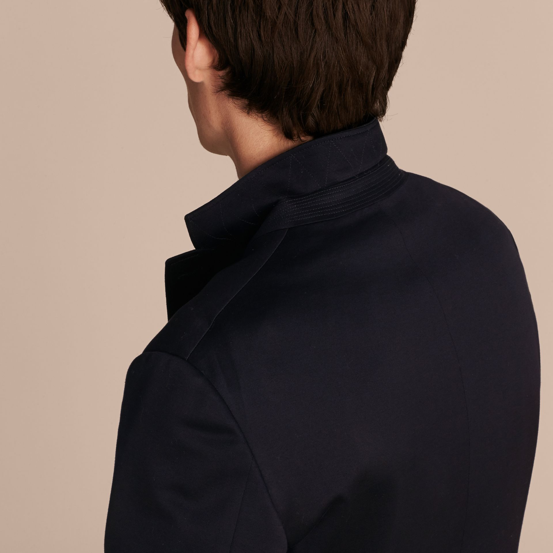 Navy Slim Fit Tailored Cotton Jersey Jacket Navy - gallery image 6