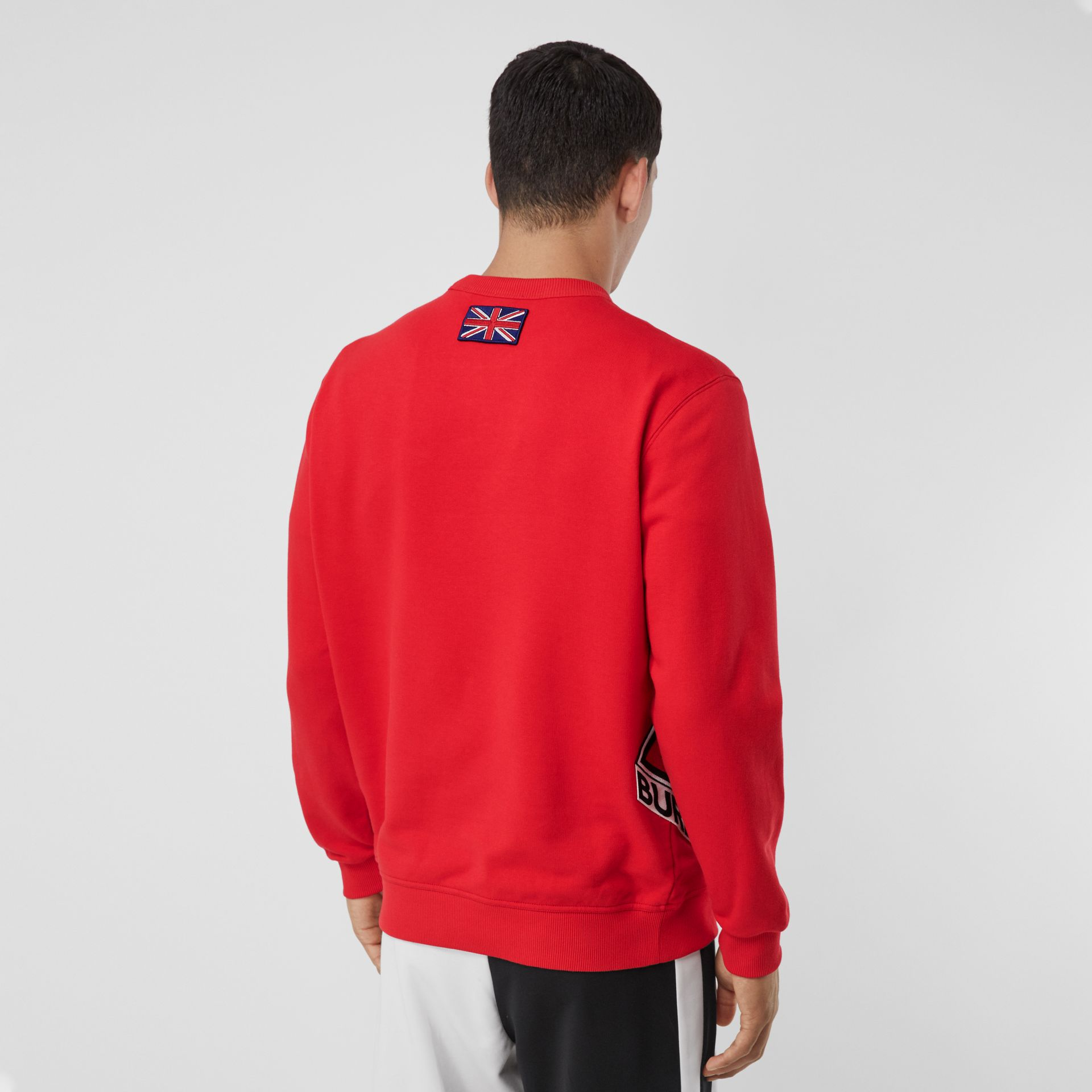 Logo Graphic Cotton Sweatshirt in Bright Red - Men | Burberry - gallery image 2