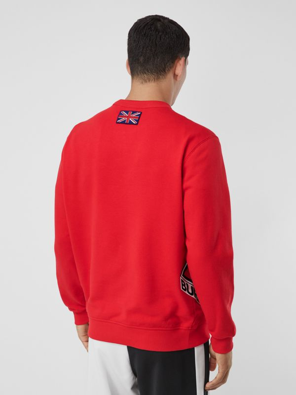 Logo Graphic Cotton Sweatshirt in Bright Red - Men | Burberry - cell image 2