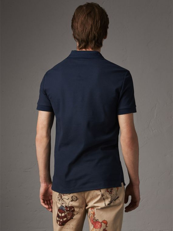 Embroidered Detail Cotton Piqué Polo Shirt in Navy - Men | Burberry - cell image 2