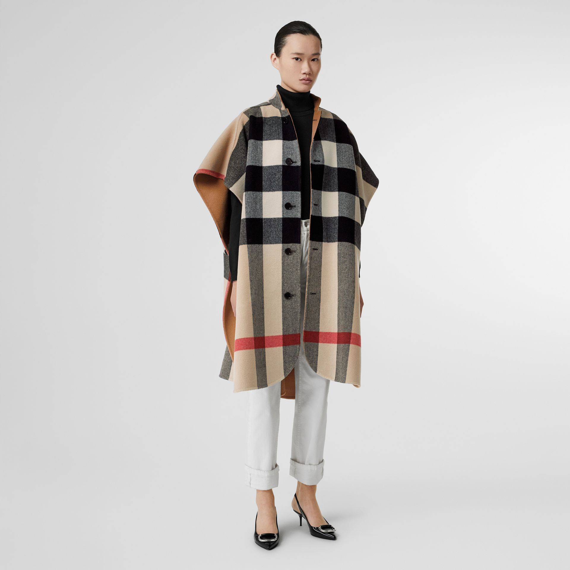 Reversible Check Wool Blend Poncho in Camel - Women | Burberry Australia - gallery image 0