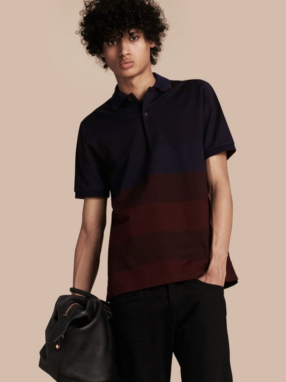 Striped Stretch Cotton Piqué Polo Shirt Burgundy Red