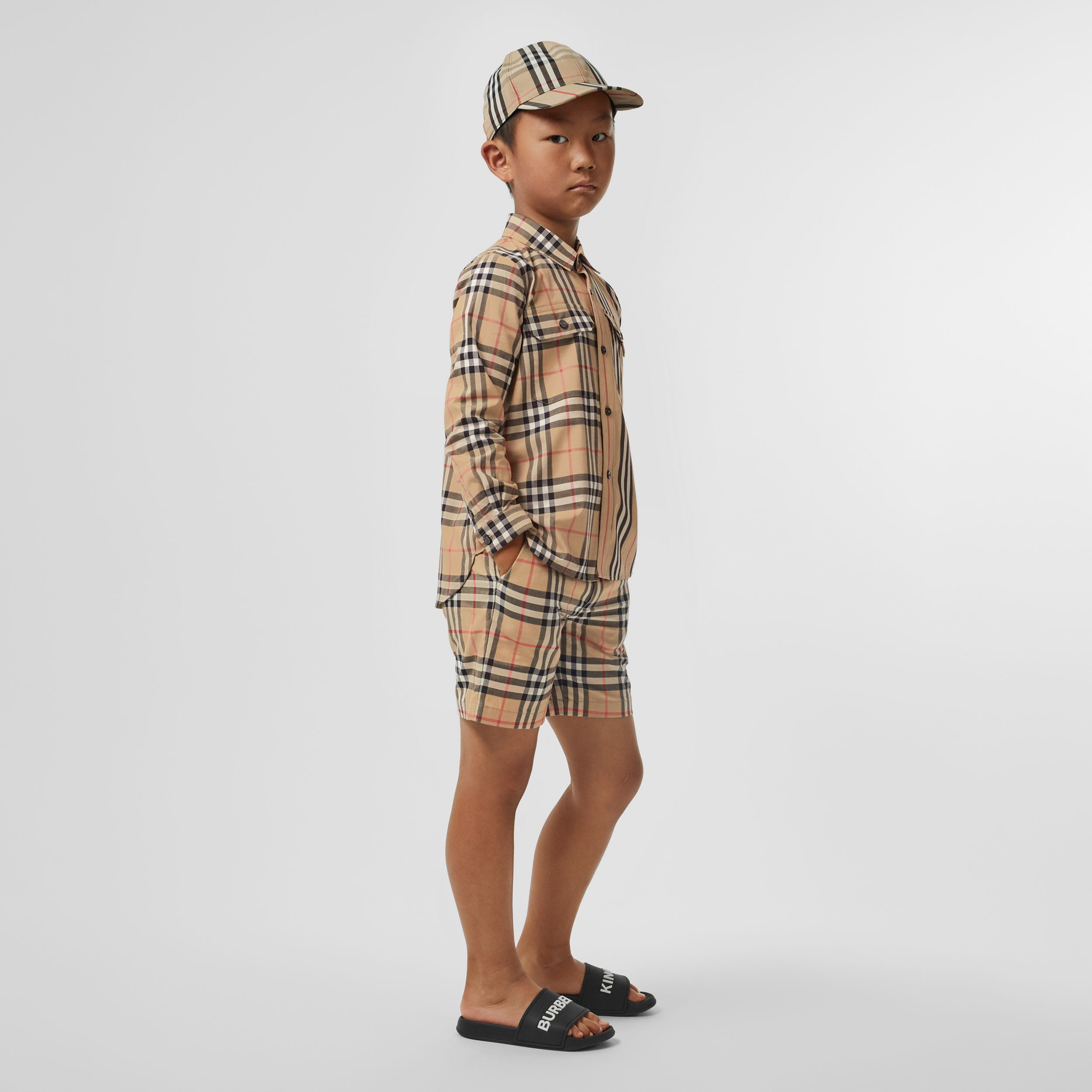 Vintage Check Cotton Tailored Shorts in Archive Beige | Burberry Canada - 3