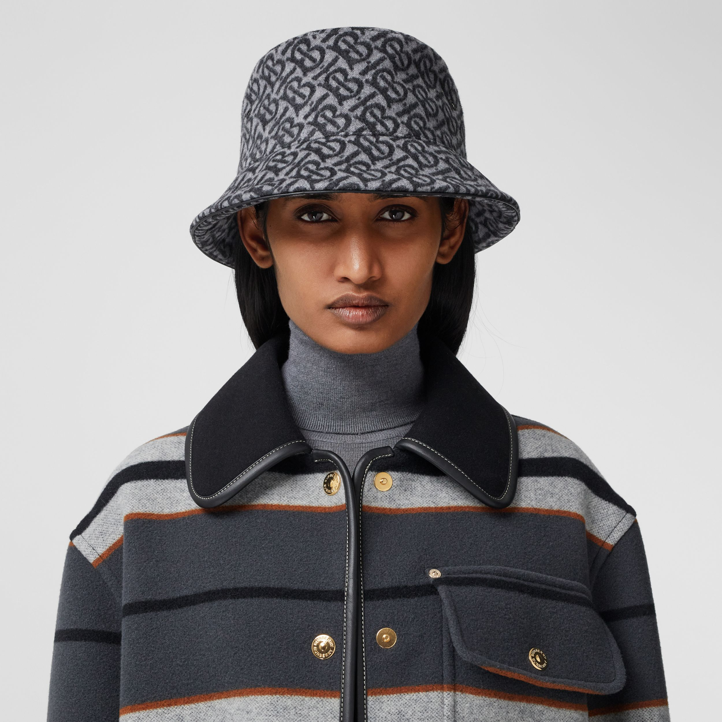 Monogram Wool Cashmere Jacquard Bucket Hat in Pale Grey | Burberry - 3