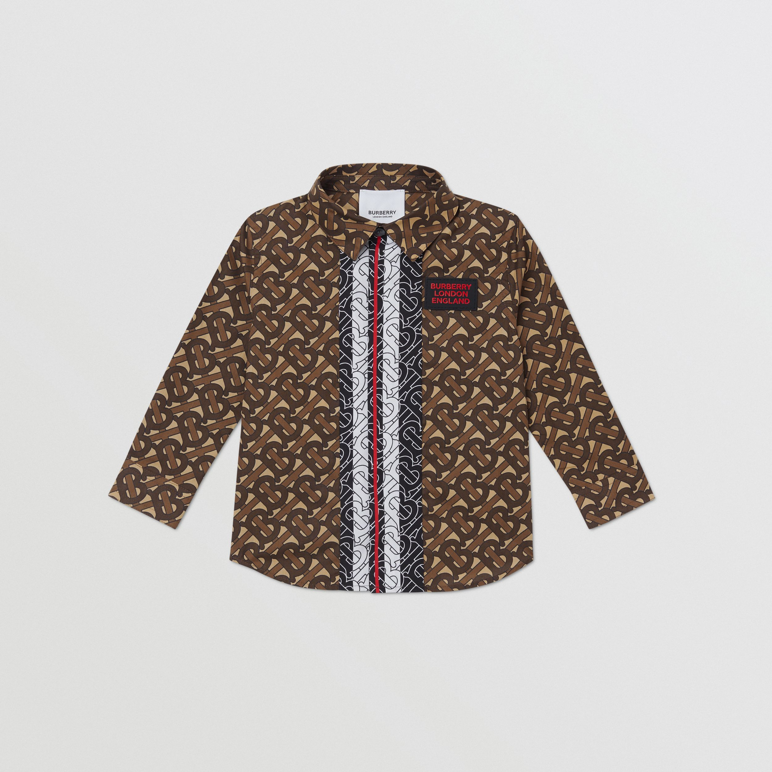 Monogram Stripe Print Cotton Shirt - Children | Burberry - 1
