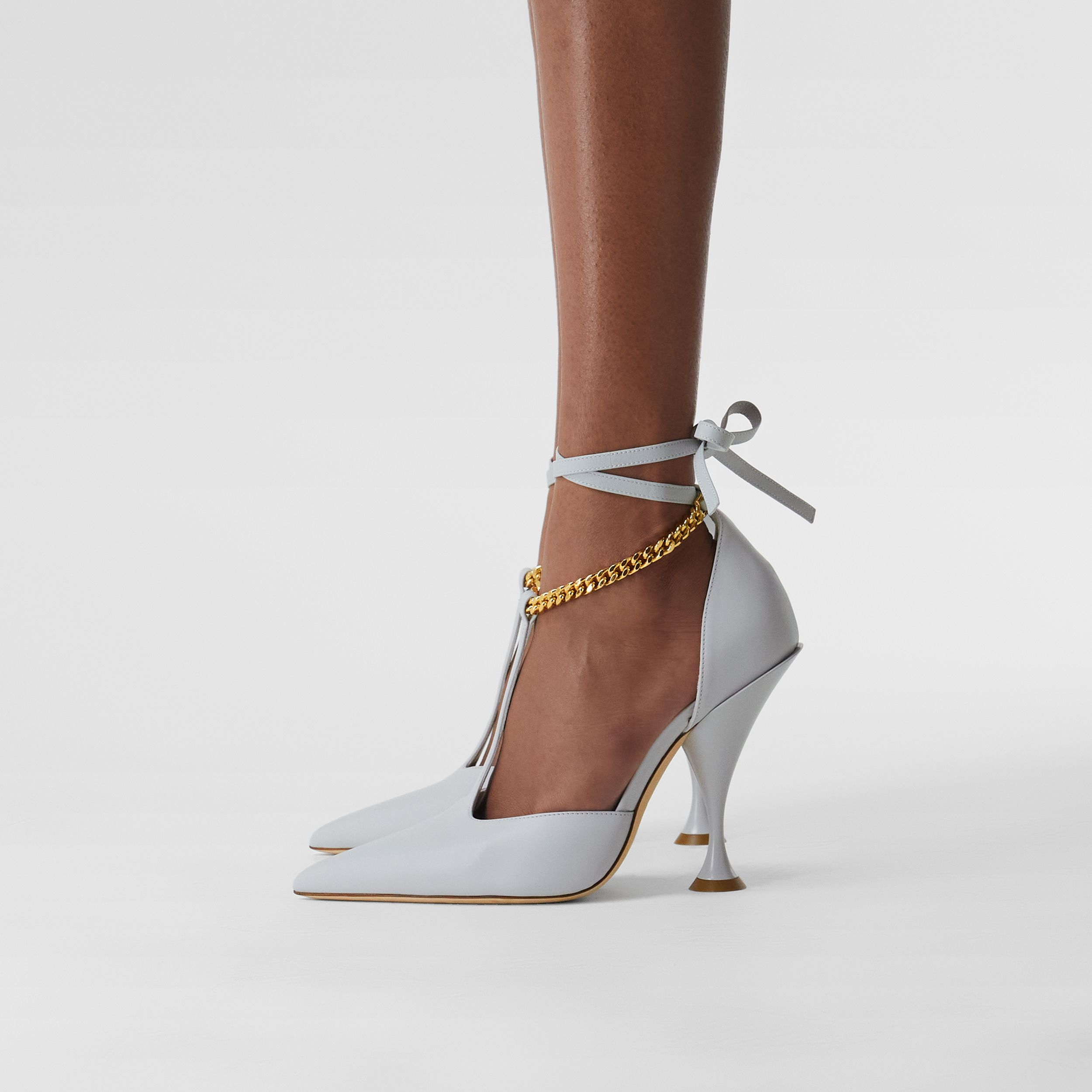 Chain Detail Leather Pumps in Pebble Grey - Women | Burberry United Kingdom - 3