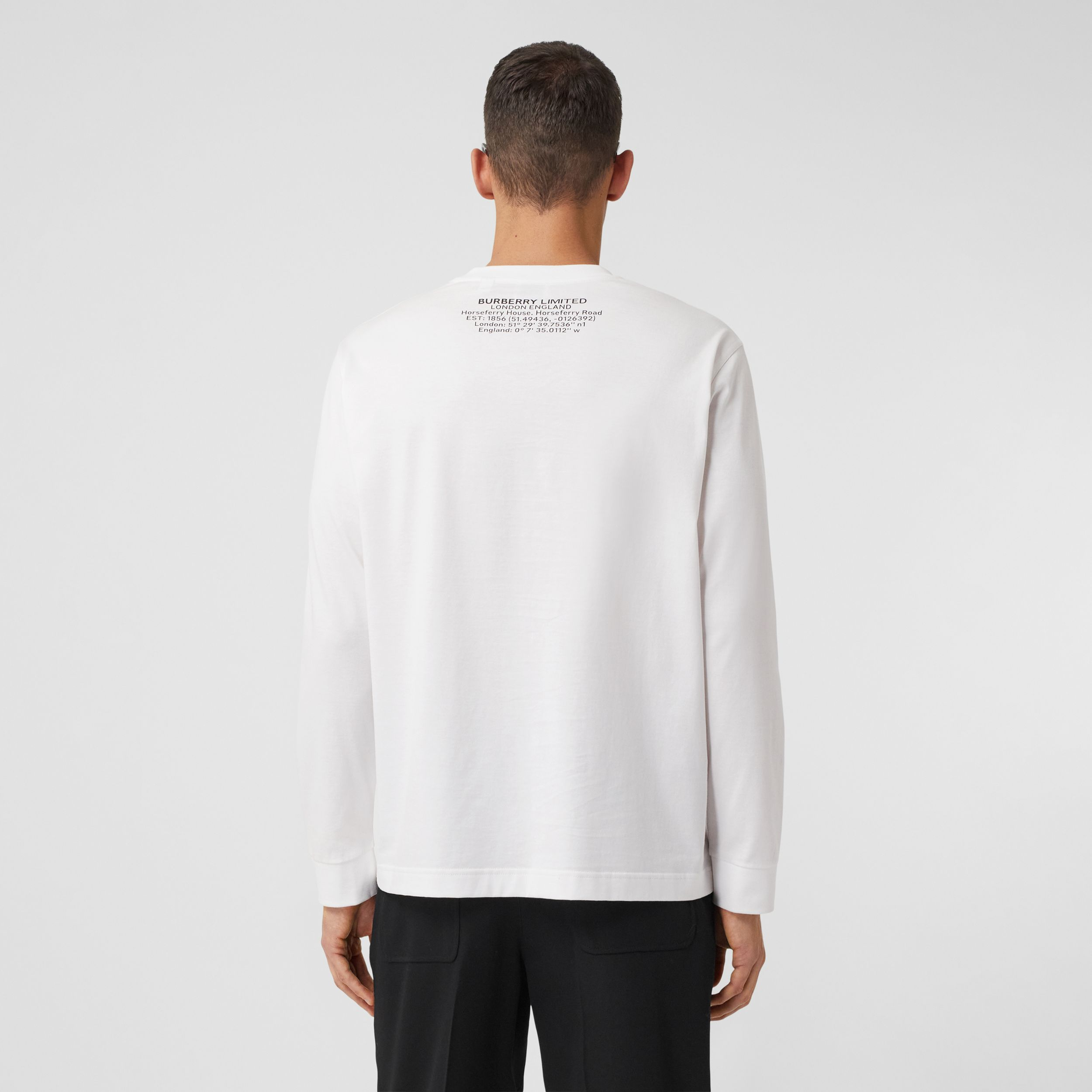 Long-sleeve Shark Graphic Cotton Top in White - Men | Burberry - 3