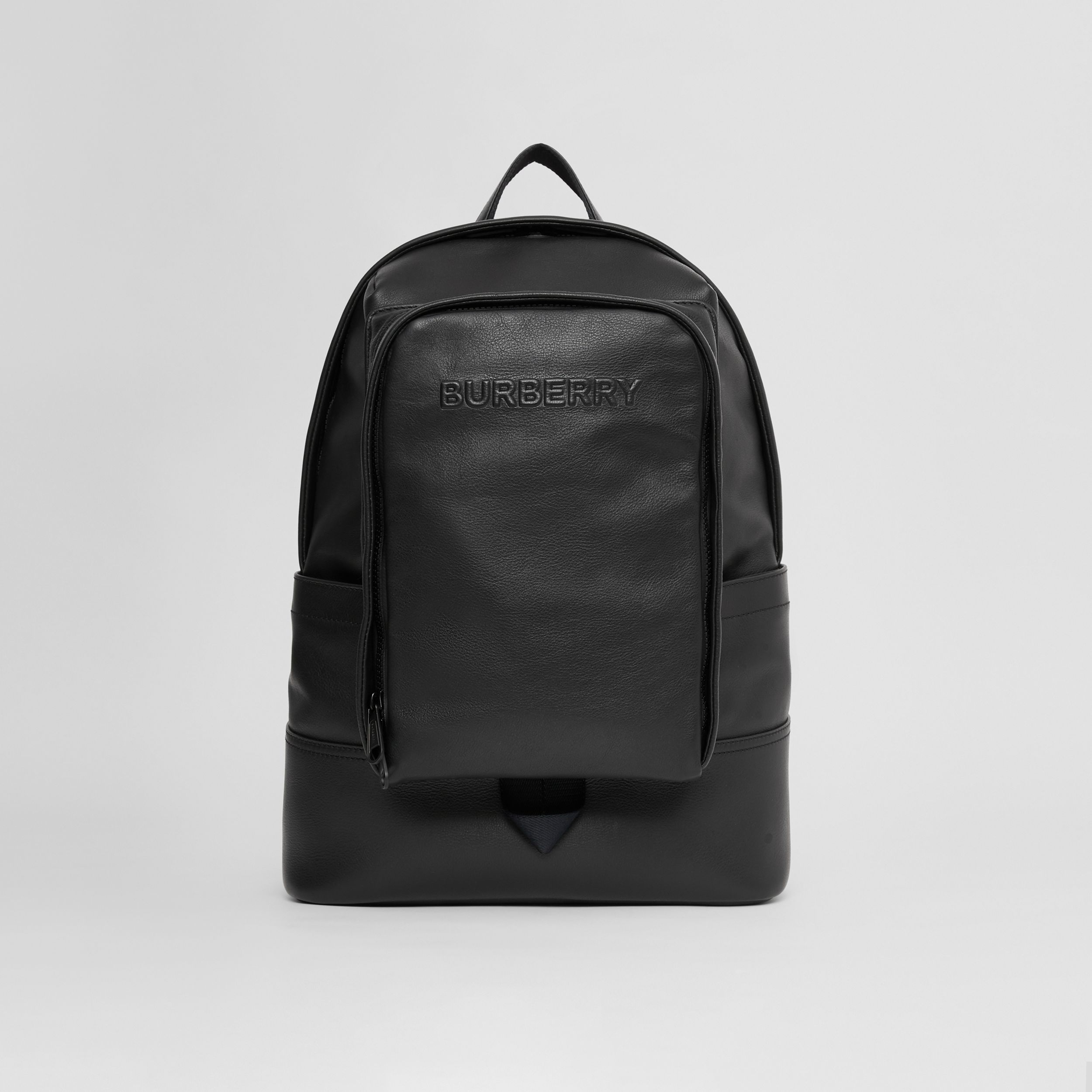 Large Logo Embossed Leather Backpack in Black - Men | Burberry - 1