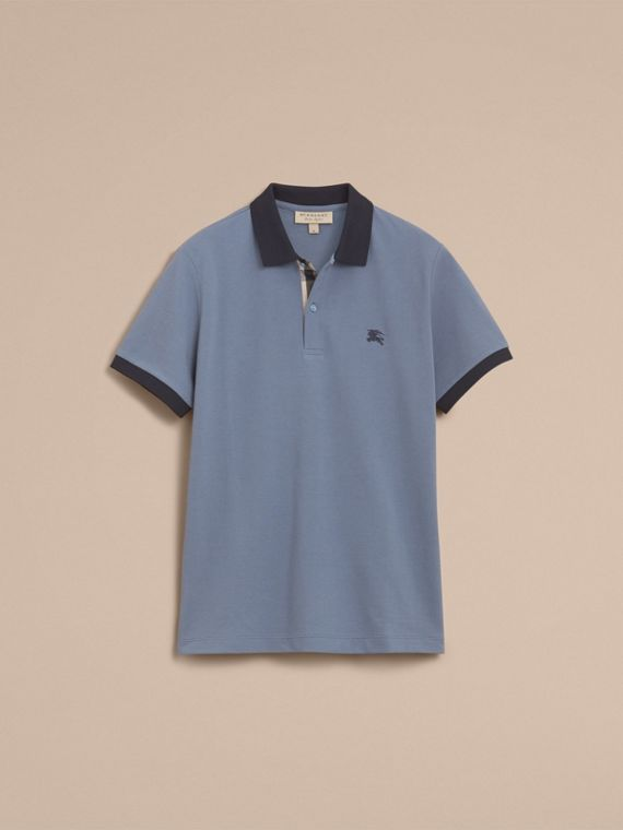 Two-tone Check Placket Cotton Piqué Polo Shirt in Stone Blue - Men | Burberry - cell image 3