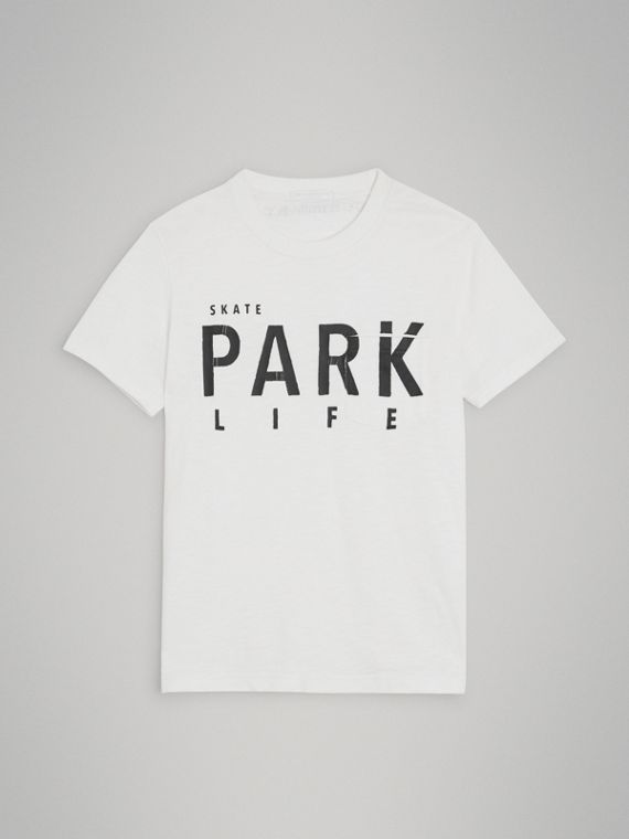"""Baumwoll-T-Shirt mit """"Skate Park Life""""-Aufdruck (Weiss)"""