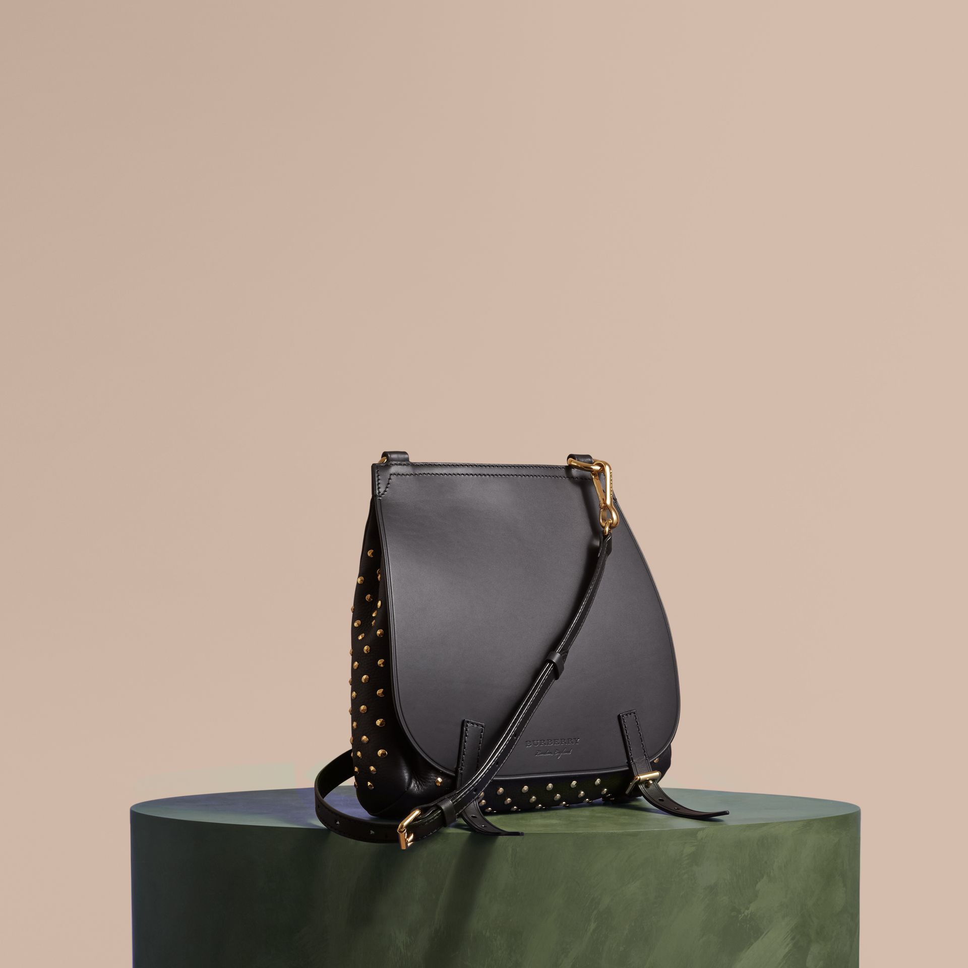 Black The Small Bridle Bag in Riveted Leather - gallery image 1