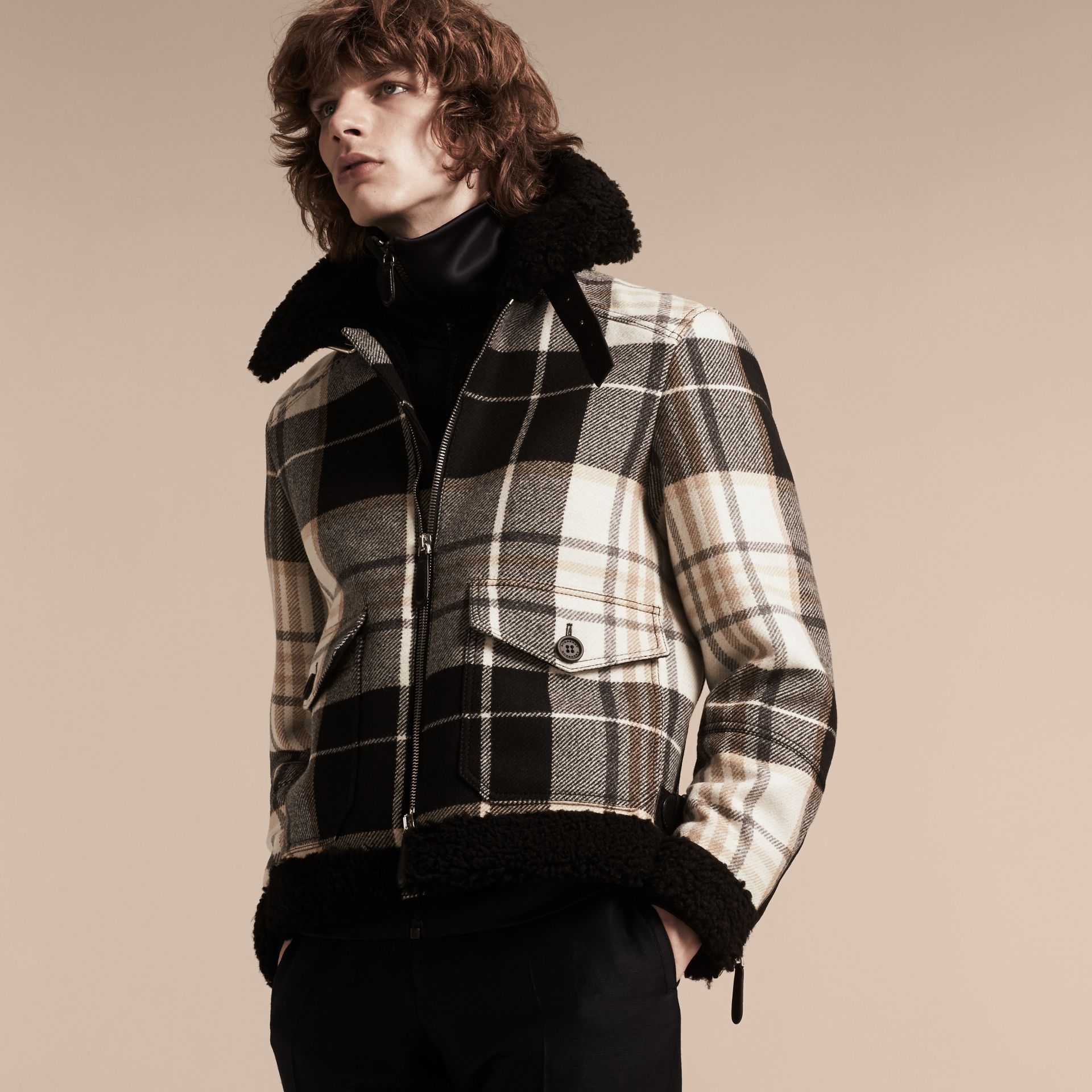 Black Shearling Trim Tartan Wool Flight Jacket - gallery image 8