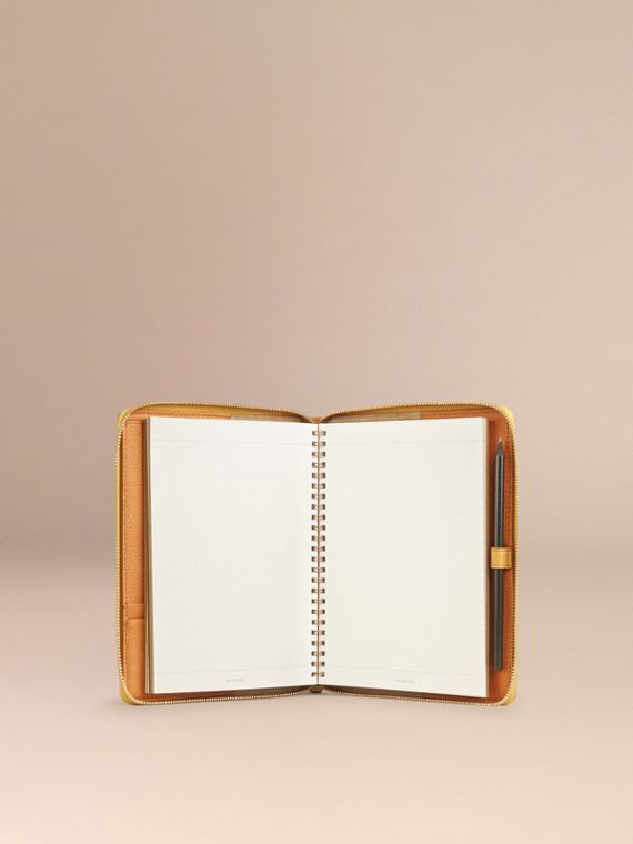 Ziparound Grainy Leather A5 Notebook in Ochre Yellow | Burberry - cell image 2