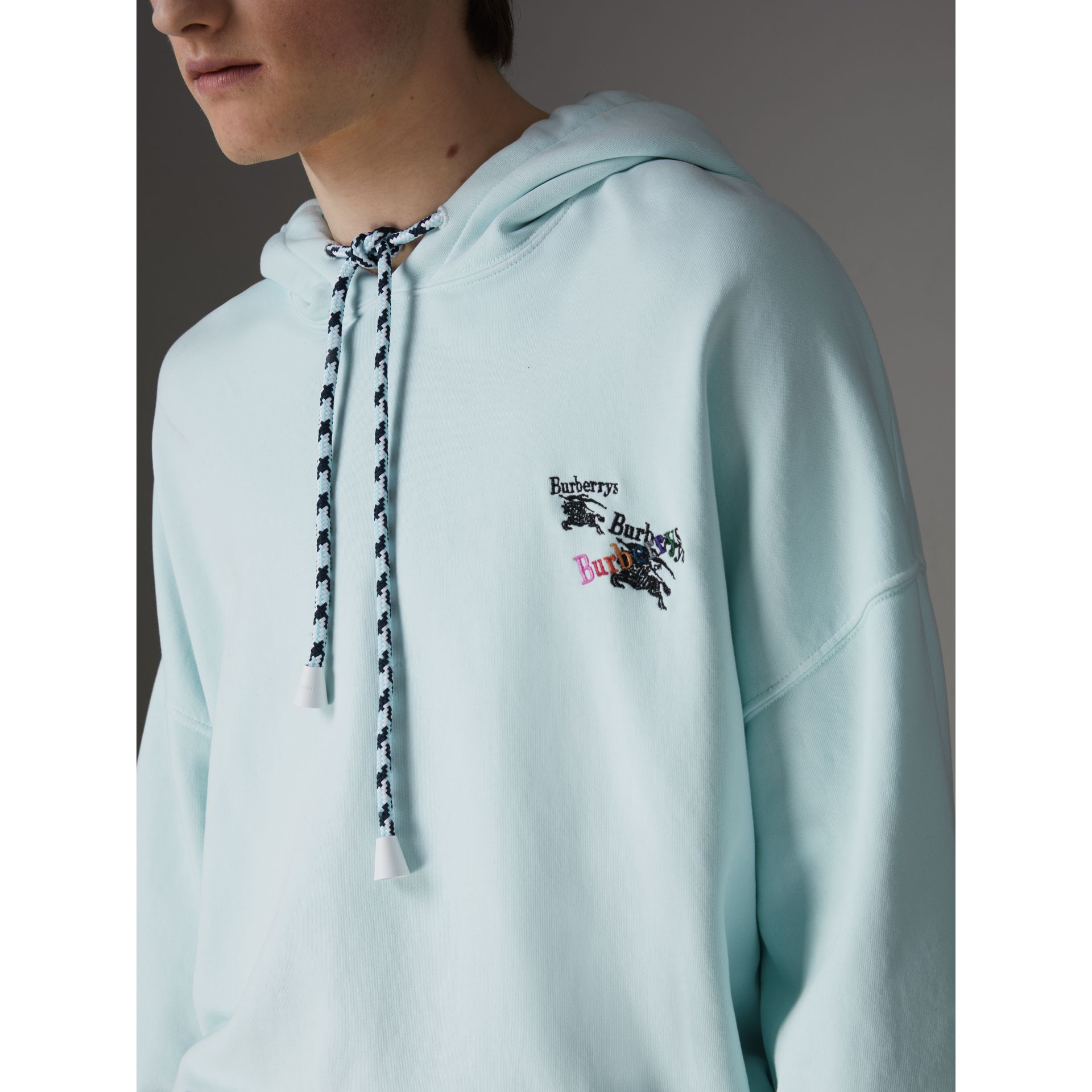 Equestrian Logo Embroidery Cotton Oversized Hoodie in Pearl Blue - Men | Burberry - gallery image 1