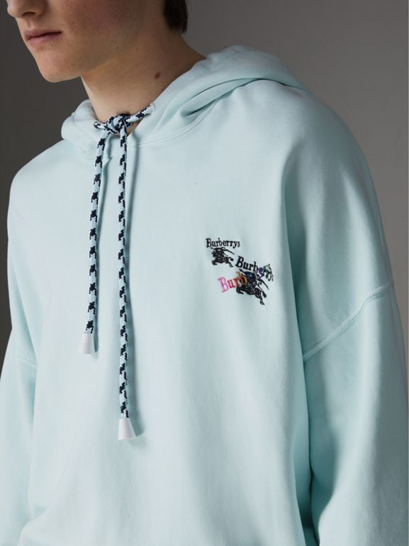 Equestrian Logo Embroidery Cotton Oversized Hoodie in Pearl Blue - Men | Burberry United Kingdom - cell image 1