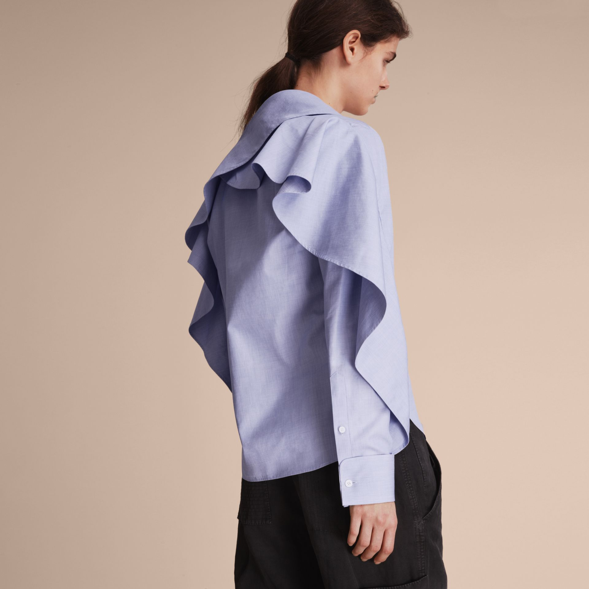 Ruffle Detail Cotton Shirt - gallery image 3