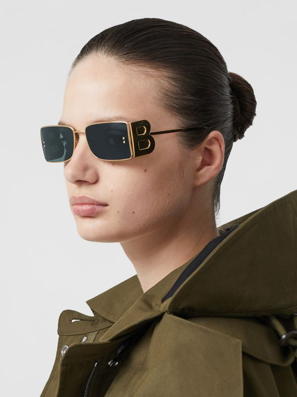 'B' Lens Detail Rectangular Frame Sunglasses in Tortoiseshell | Burberry - cell image 2