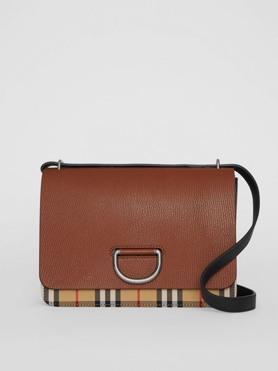 The Medium Vintage Check and Leather D-ring Bag in Tan/black
