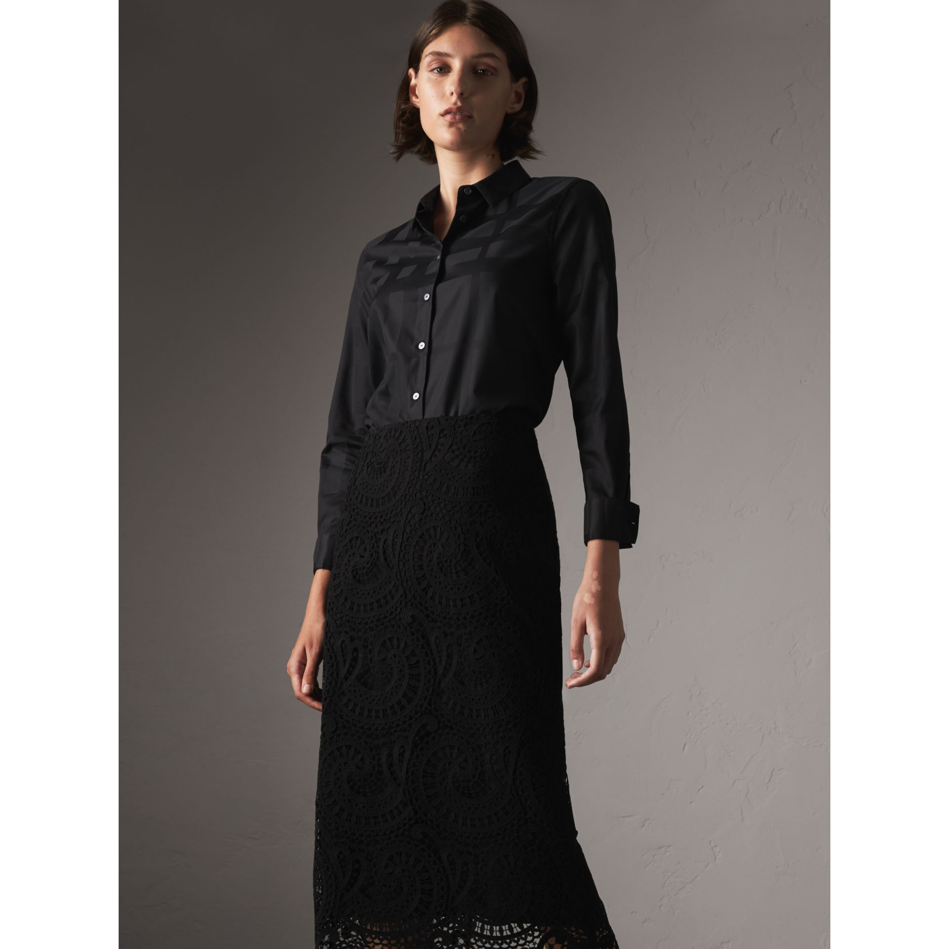 Check Jacquard Cotton Shirt in Black - Women | Burberry - gallery image 5