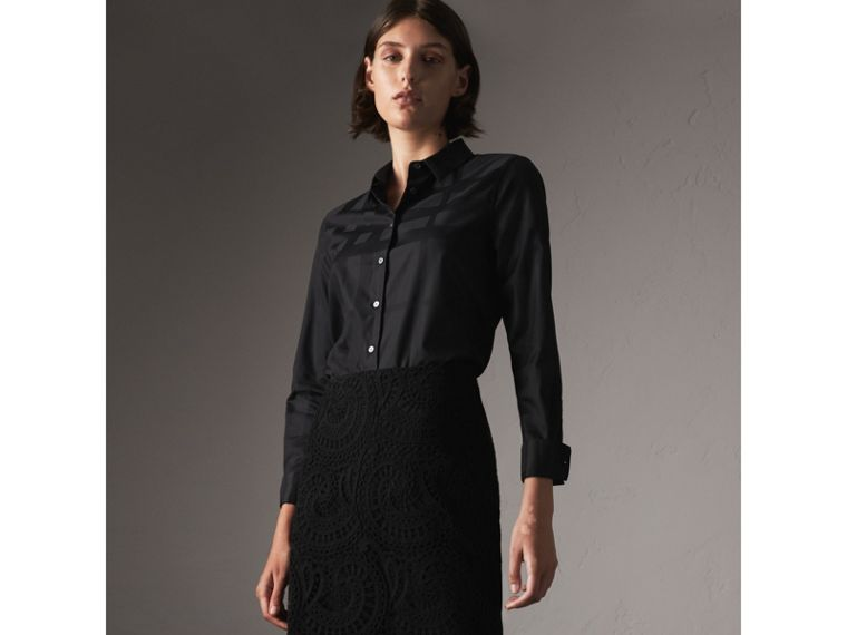 Check Jacquard Cotton Shirt in Black - Women | Burberry - cell image 4