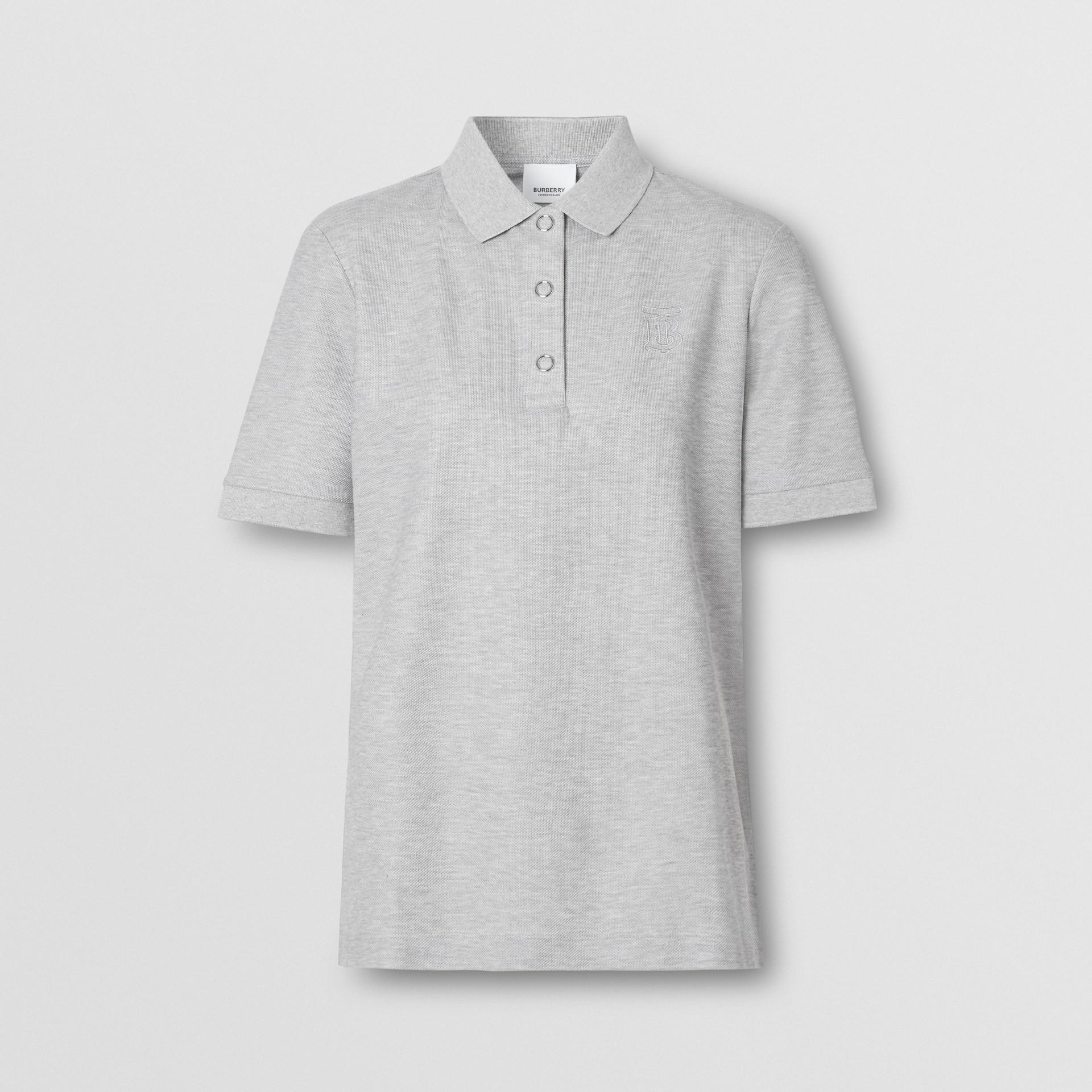 Monogram Motif Cotton Piqué Polo Shirt in Pale Grey Melange - Women | Burberry United Kingdom - gallery image 3