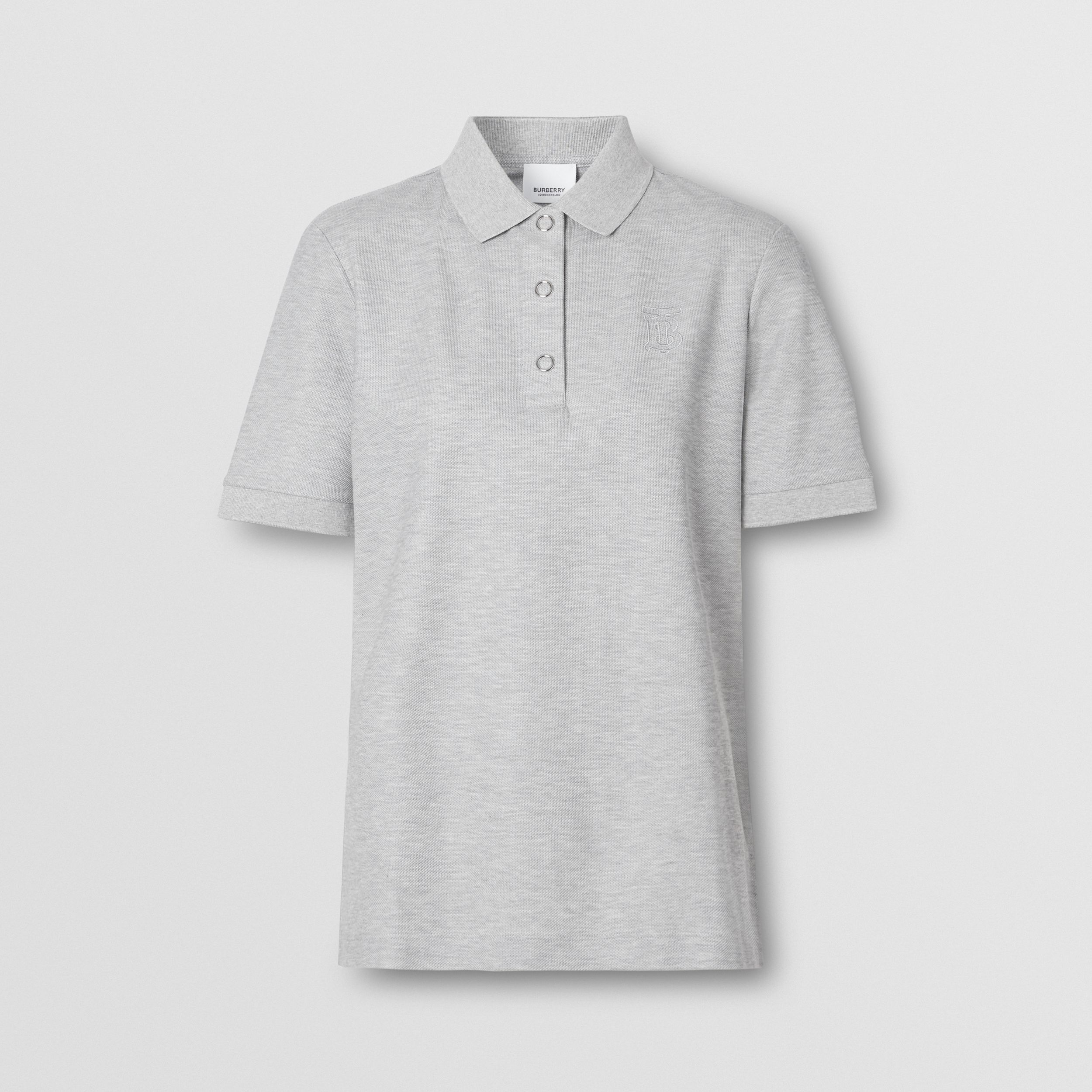 Monogram Motif Cotton Piqué Polo Shirt in Pale Grey Melange - Women | Burberry - 4