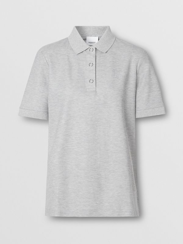 Monogram Motif Cotton Piqué Polo Shirt in Pale Grey Melange - Women | Burberry United Kingdom - cell image 3