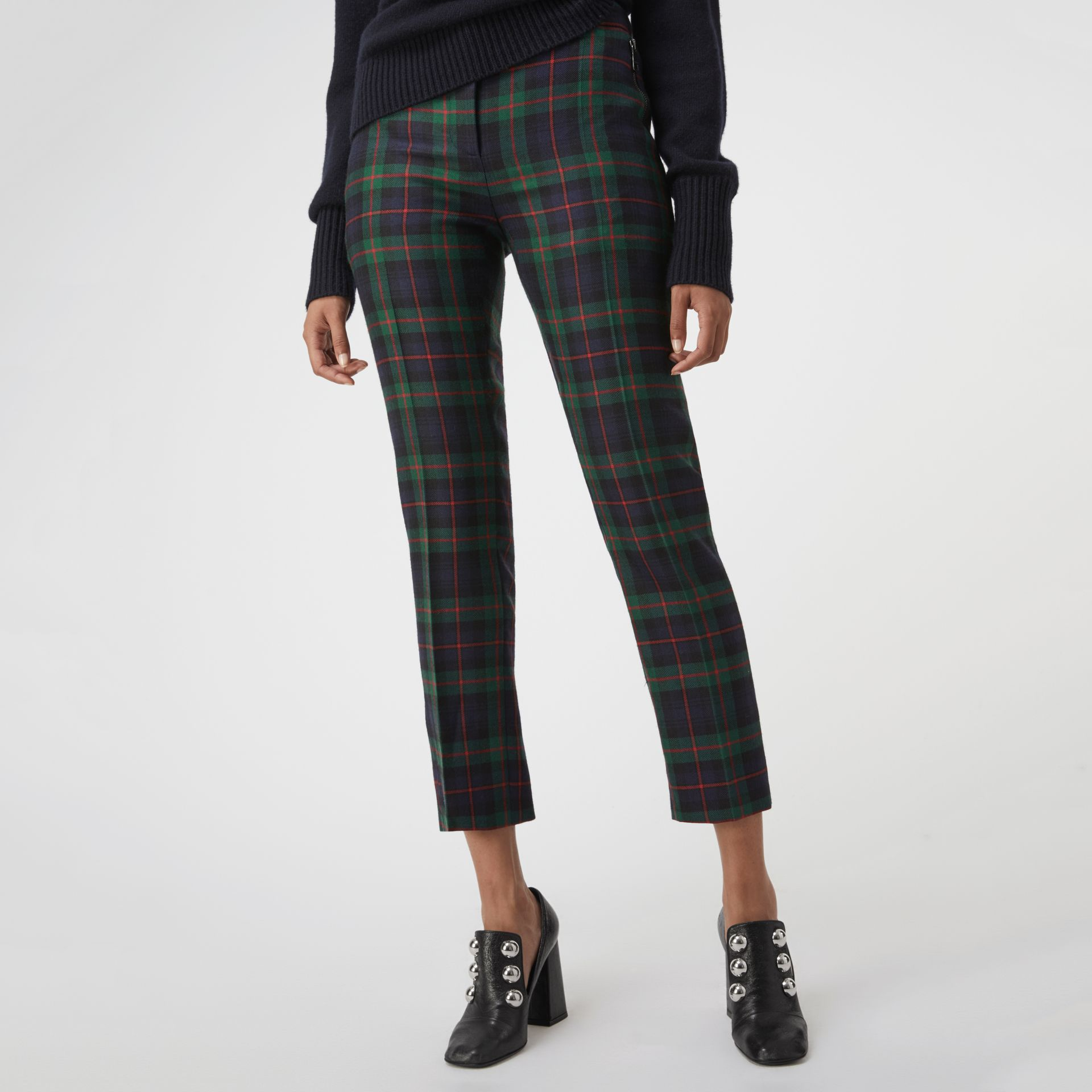 Zip Detail Check Wool Blend Trousers in Navy - Women | Burberry - gallery image 3