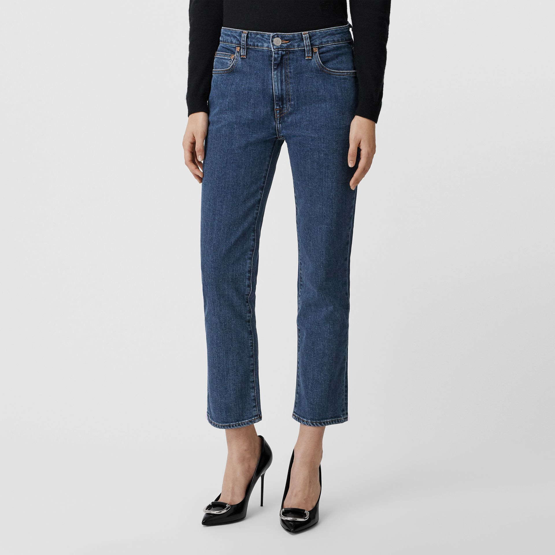 Straight Fit Japanese Denim Jeans in Blue - Women | Burberry United Kingdom - gallery image 0